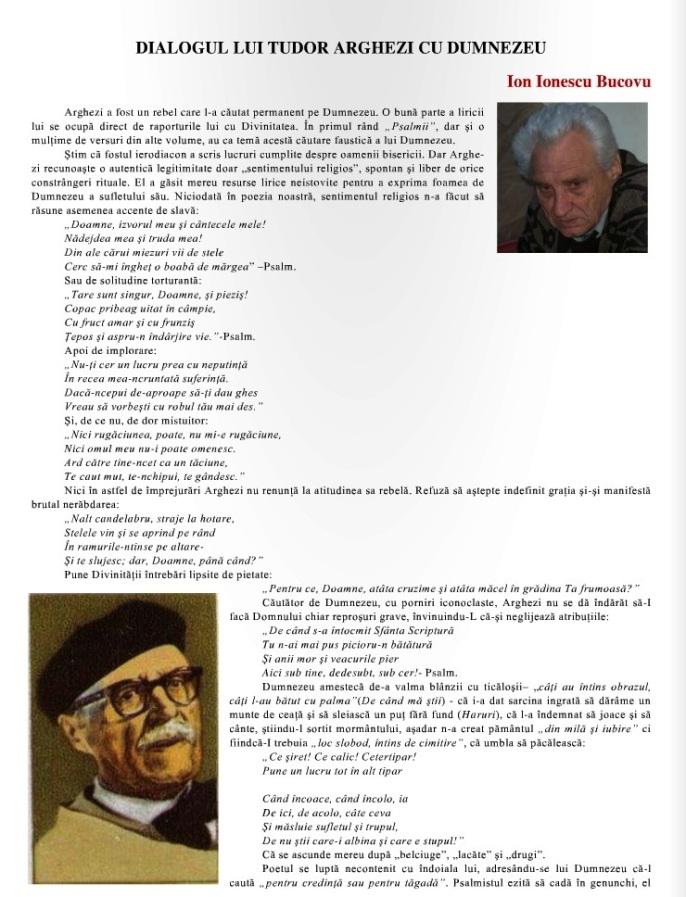 Dialogul lui T. Arghezi cu Dumnezeu